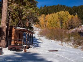 Cabin in snow by MartinGollery