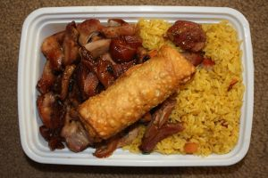 Bourbon Chicken with Rice and Egg Roll by PDJ004