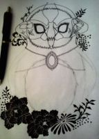 Owl tattoo design in Progress by LadySayuri