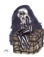 Black Cat Marker Drawing by em-scribbles