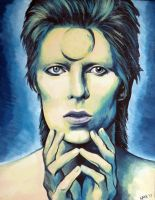 David Bowie Painting by MilesofCrochet