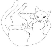 free falling cat line art by JinKitsuka