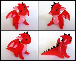 Red Plated Dragon Plushie by DragonsAndBeasties