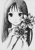 Mio with flowers by MagdaMilo