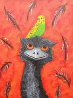 Emu and Budgie by NeroUrsus