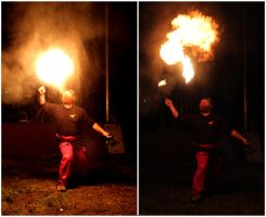 Historical fencing group Pantaleon - fire show by PetiAlice