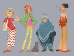 Four Witches and One Cat by GreekCeltic