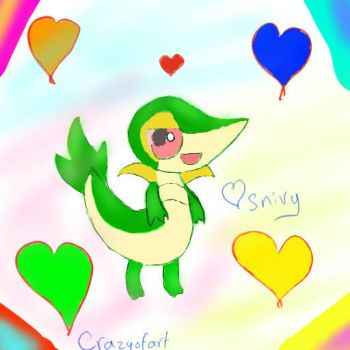 love you snivy by crazyofart