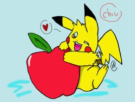 Pikachu with an apple by yuminica
