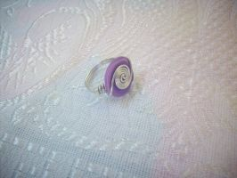 Purple - White Button Ring - 1 by ChrisOnly