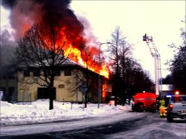 The Old Arcipelago Clubhouse In Fire Febr 20st   2 by eskile