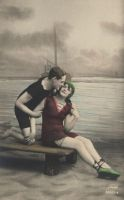 Vintage lovely beach couple I by MementoMori-stock