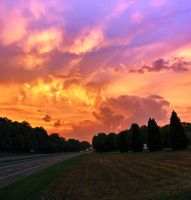 Sunset on the road by detnarg