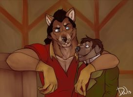 Gaston and Lefou by DeijiWat