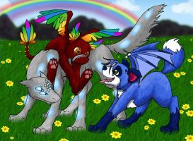 Puppy Party in Rainbow Land by Blue-Dragon22