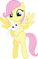 Filly Fluttershy with Angel by MacTavish1996 by MacTavish1996