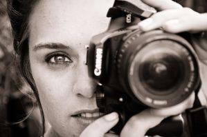 Lisa with camera BnW by TheSoftCollision