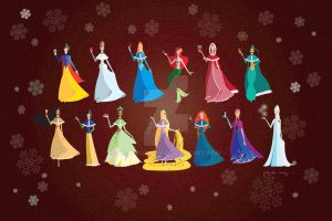 Disney Princesses - Christmas Time by AmadeuxWay
