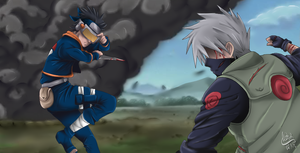 Kakashi vs Obito by KazumiNoMegami