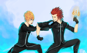 Commission- Axel and Roxas by LazyReko