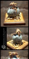 Dragon Hatchling Sculpture - Brown and Grey by Nightlyre