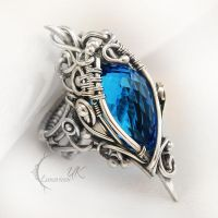 MANHTRILH  - silver and blue quartz ( ring ) by LUNARIEEN