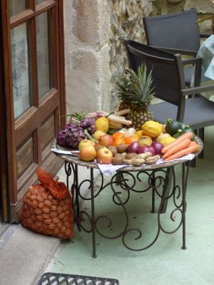 Gag of walnuts and vegetables and fruits old table by A1Z2E3R