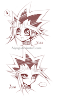 Yugi and Atem headshot sketch by AiYugi