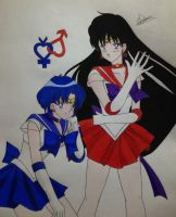 Sailor Mercury And Sailor Mars by Conzibar