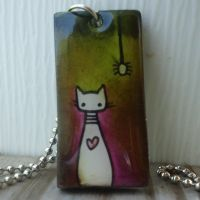 Cat and Spider Art Pendant by cellsdividing