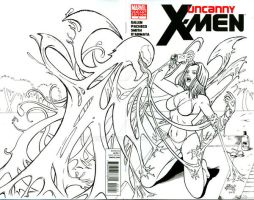 EmmaFrost vs Venom sketch cover by seanforney