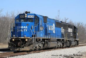 Ex Conrail 5438 and NS 7003 lead NS D27 by EternalFlame1891