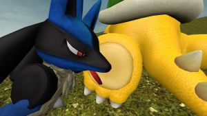 Lucario Licks and tickles a Bowser 1 (request) by hectorlongshot
