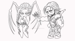 Chibi Raynor n Kerrigan - inks by Winged-warrior