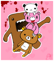 Two Bears, Panda and Domo-kun by the-mad-hatta