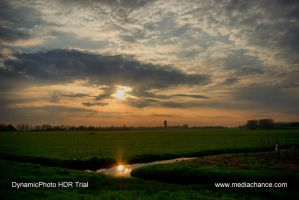 Brilliant dawn over the polder by steppeland