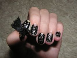 Corset and lace nails by Insanity-Cake
