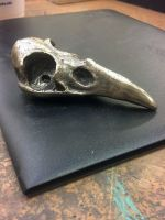Hand Carved Bronze Raven Skull by AbandonedMemory