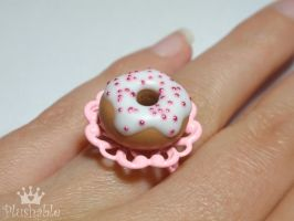 Sweet pink donut ring by voodoogrl