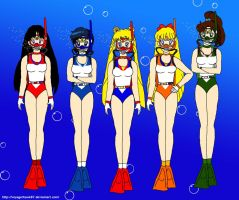 The Five Sailor Scouts' Scuba Fun by VoyagerHawk87