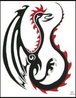 red and black dragn tattoo by DesignTheSkinYourIn