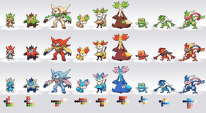 6th Gen Starter Pokemon Palette Swaps by TwinQuasars
