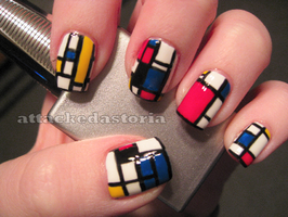 piet mondrian inspired nails by xtheungodx