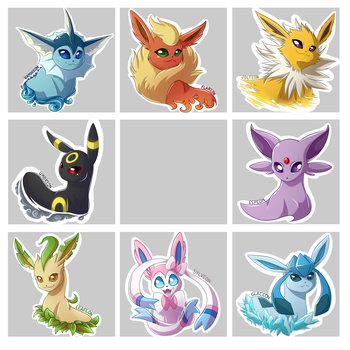 Eeveelution Stickers (WIP) by RiverSpirit456