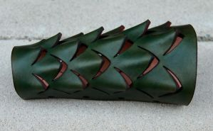 Leather Scale Bracer WIP 2 by DracoLoricatus