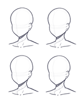 Head Design Base (Sketch and Lineart) by Kitsunetsukiko