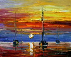 New sunset oil painting on canvas by L.Afremov by Leonidafremov