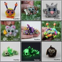 Polymer Clay Characters - FuzzyKims by KIMMIESCLAYKREATIONS