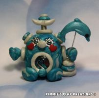 Polymer Clay Robot - I Love Dolphins Robot by KIMMIESCLAYKREATIONS