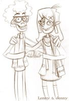Lenny and Jenny - Fanboy and Chum Chum Sketch by AronDraws